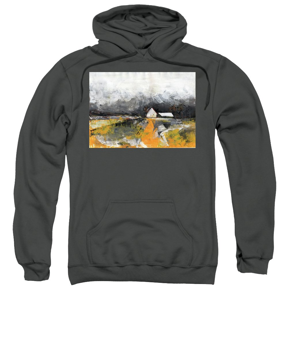 Landscape Sweatshirt featuring the painting Welcome Home by Aniko Hencz