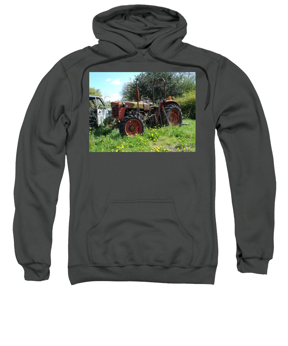 Tractor Sweatshirt featuring the photograph Well And Truely Retired by Susan Baker