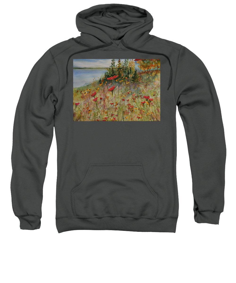 Nature Sweatshirt featuring the painting Wendy's Wildflowers by Ruth Kamenev