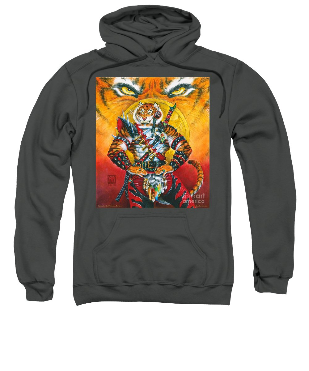 Fantasy Sweatshirt featuring the painting Werecat Warrior by Melissa A Benson