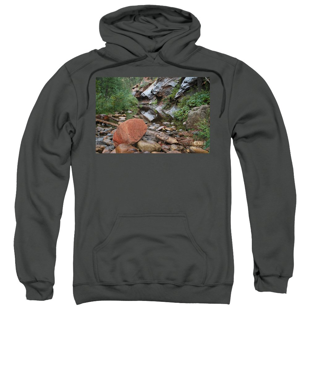 West Fork Trail River And Rock Vertical Sedona Arizona Oak Creek Canyon Wall Water Tree Bush Brush Leaf Pine Reflect Reflection Sweatshirt featuring the photograph West Fork Trail River And Rock Horizontal by Heather Kirk