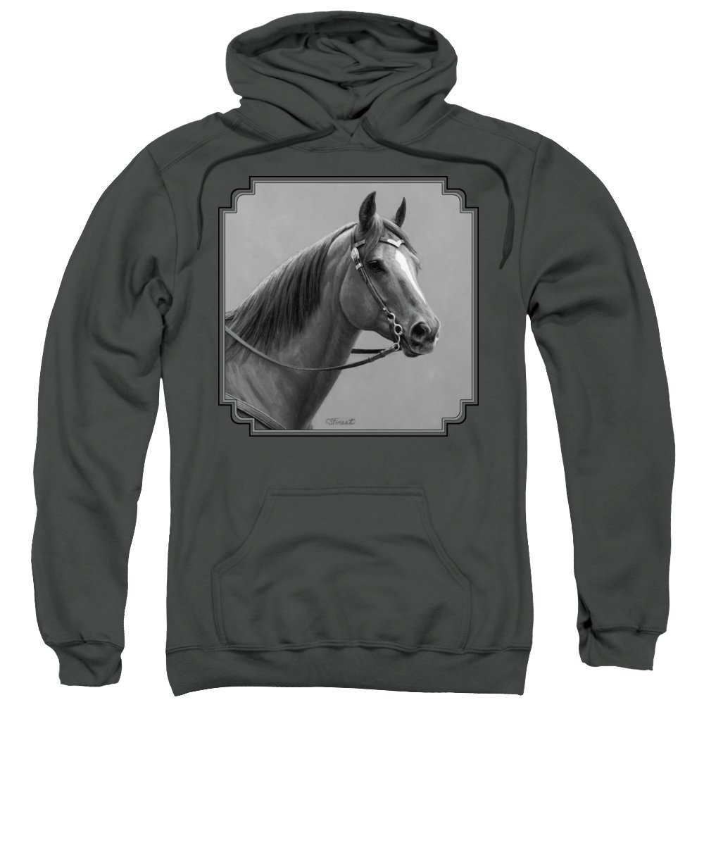 Horse Sweatshirt featuring the painting Western Quarter Horse Black And White by Crista Forest