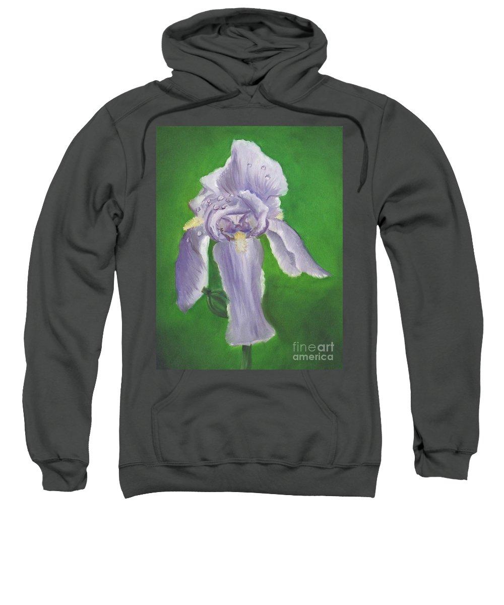 Iris Sweatshirt featuring the painting Wet Iris by Mendy Pedersen
