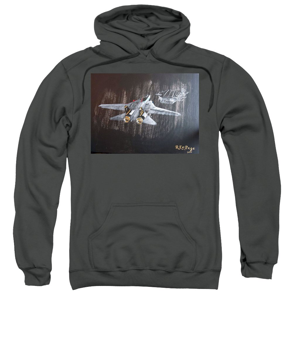 F 14 Sweatshirt featuring the painting Wet Night Landing by Richard Le Page