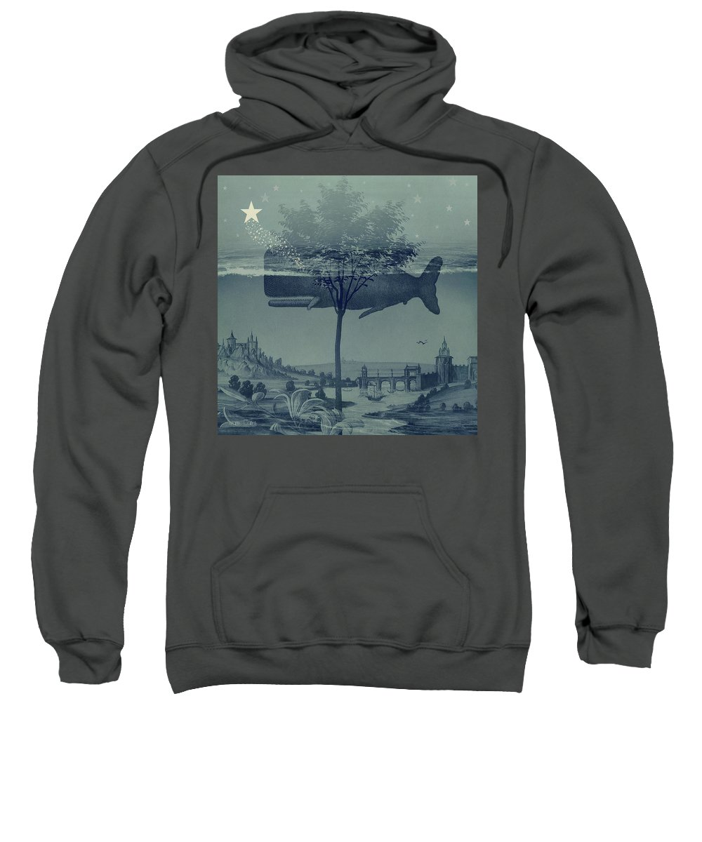 Whale Sweatshirt featuring the digital art Whale Watch by Suzanne Carter