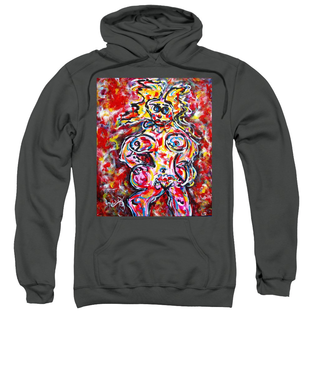 Abstracts Sweatshirt featuring the painting What Are You Looking At by Natalie Holland