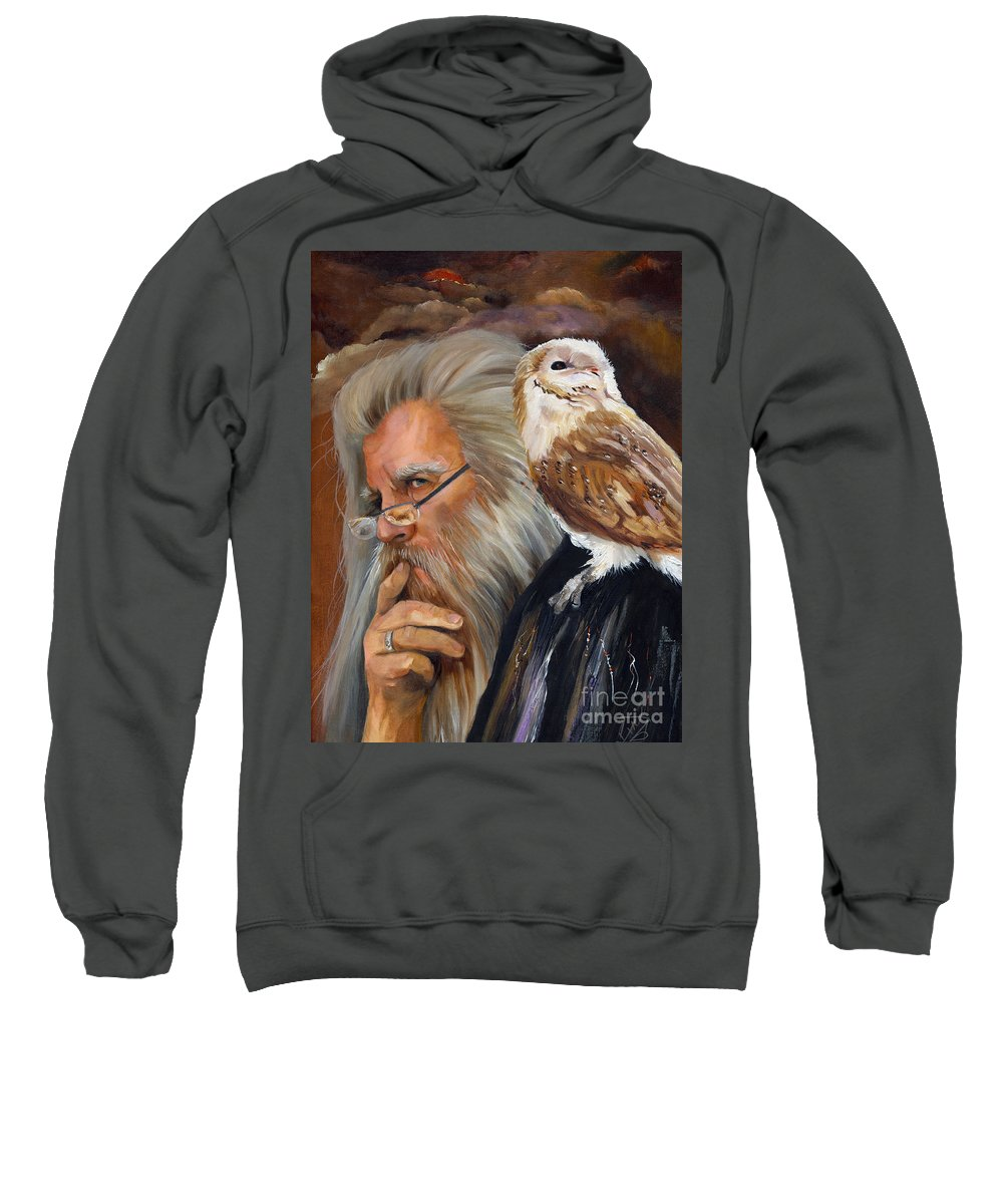 Wizard Sweatshirt featuring the painting What If... by J W Baker