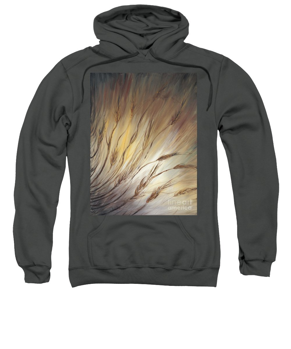 Wheat Sweatshirt featuring the painting Wheat In The Wind by Nadine Rippelmeyer