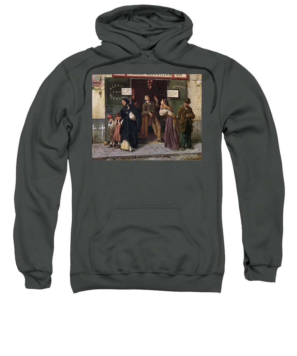 Eduardo Matania (naples 1847-1929) When Pawnbrokers Or Closed Bank Sweatshirt featuring the painting When Pawnbrokers Or Closed Bank by Celestial Images
