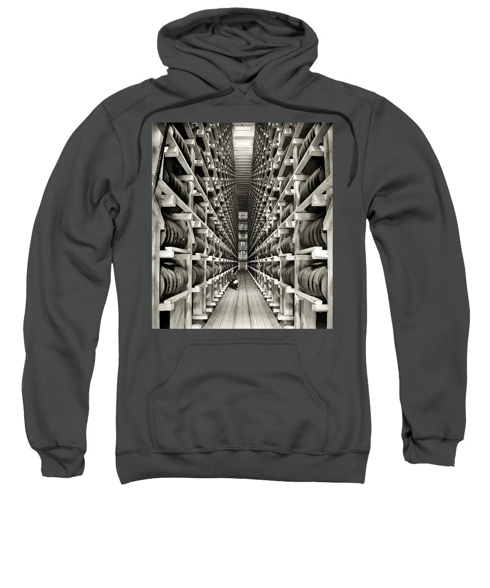 Whiskey Sweatshirt featuring the photograph Whiskey Barrel Warehouse C. 1900 by Daniel Hagerman