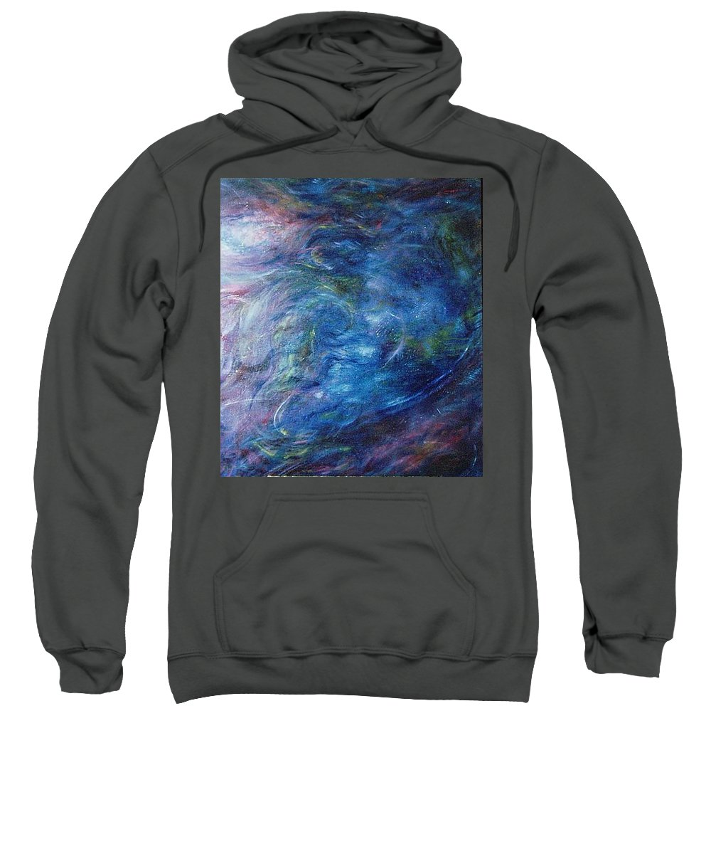 Abstract Sweatshirt featuring the painting Whispers In A Sea Of Blue by Nancy Mueller