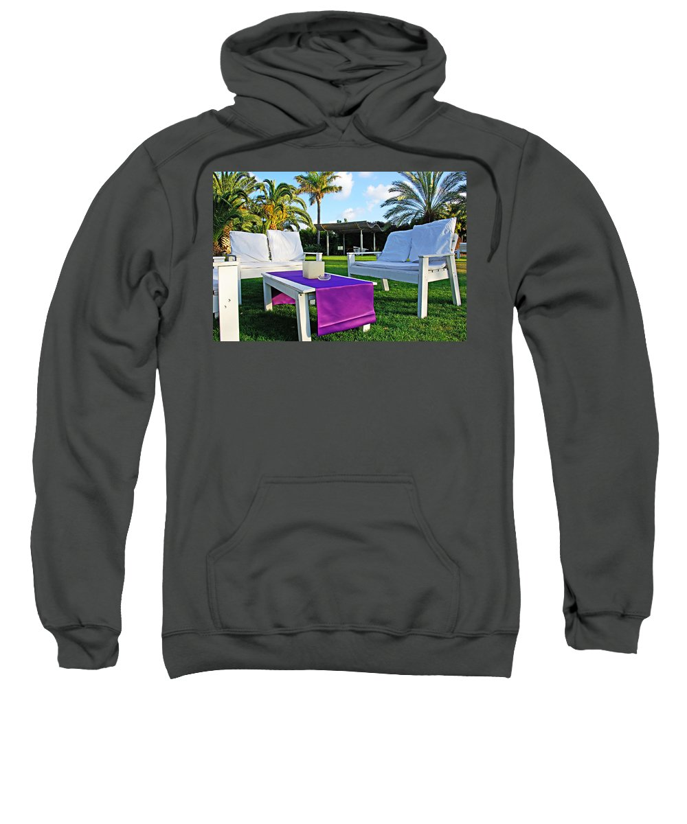 White Sweatshirt featuring the photograph White And Purple by Zal Latzkovich