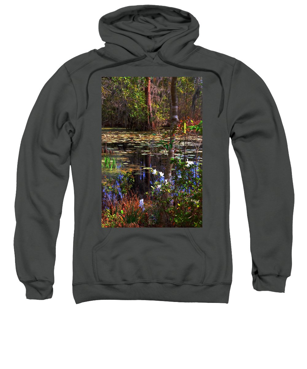 Swamp Sweatshirt featuring the photograph White Azaleas In The Swamp by Susanne Van Hulst