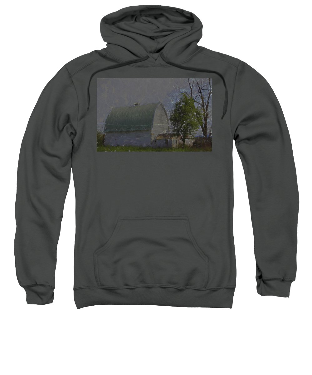 Sweatshirt featuring the photograph White Barn Digital Painting by Cathy Anderson