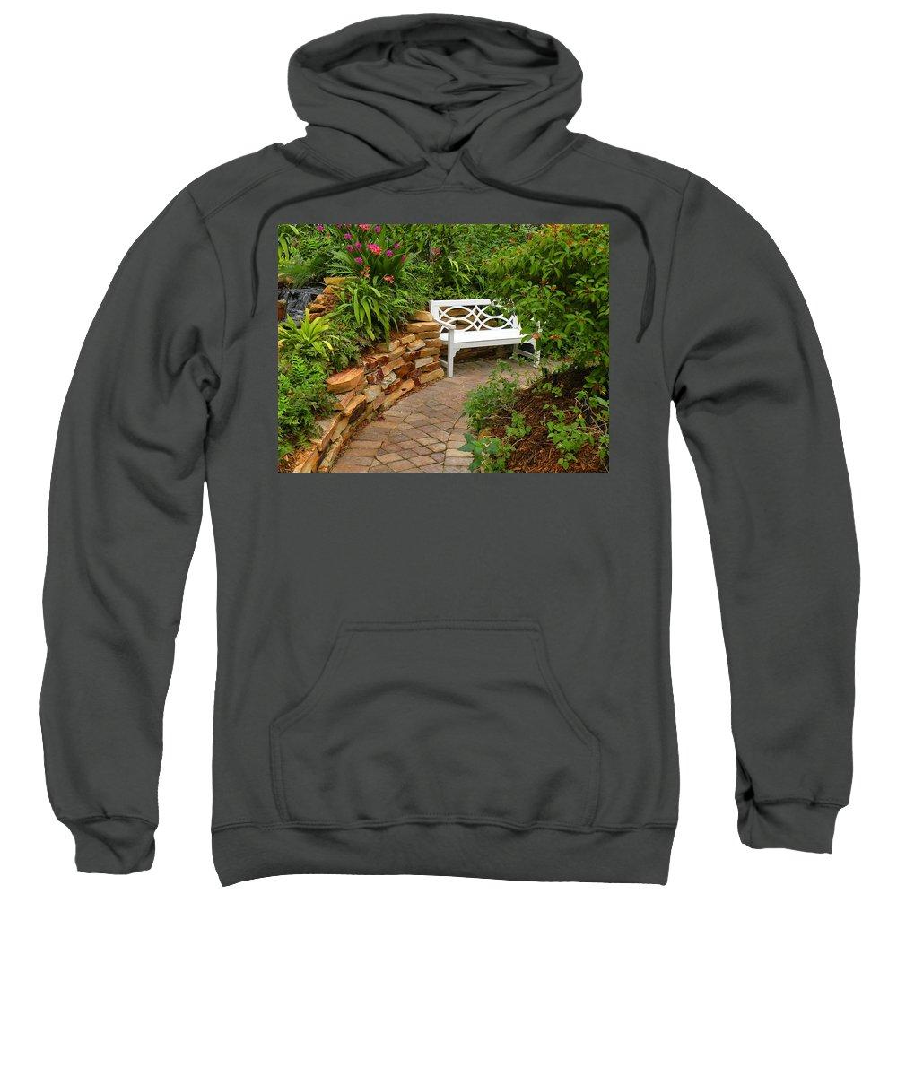 Garden Sweatshirt featuring the photograph White Bench In The Garden by Rosalie Scanlon