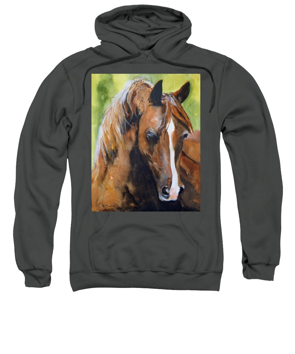 Horse Sweatshirt featuring the painting White Blaze by Jean Blackmer