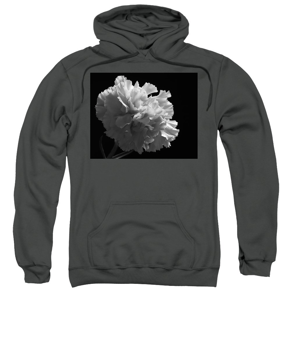 Flower Sweatshirt featuring the photograph White Carnation Monochrome by Jeff Townsend