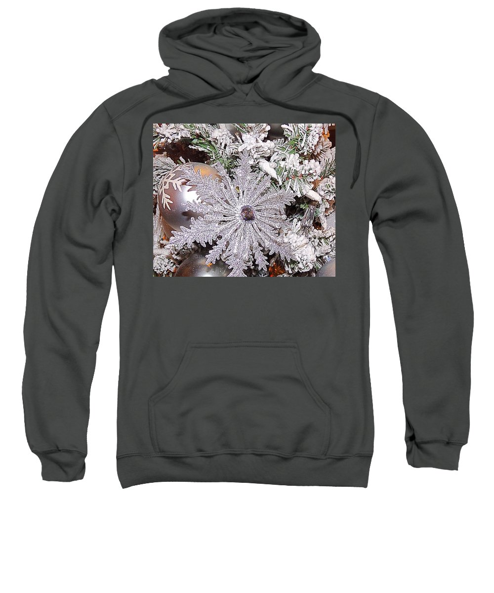 White Sweatshirt featuring the photograph White Christmas by Cheryl A Beaudoin