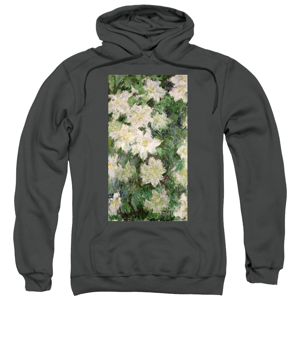 White Clematis Sweatshirt featuring the painting White Clematis by Claude Monet
