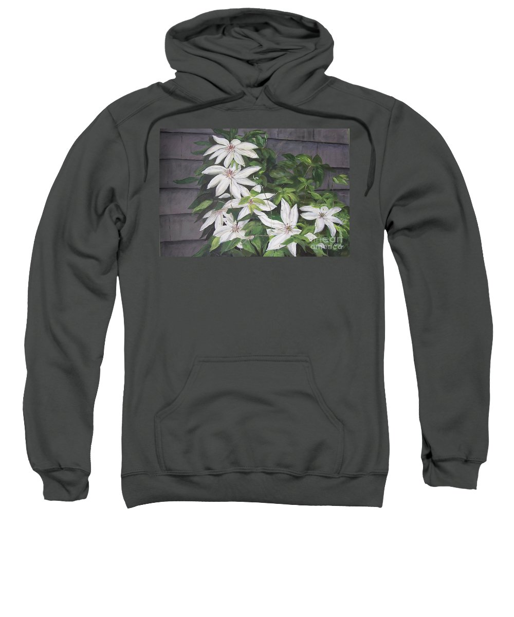 Floral Sweatshirt featuring the painting White Clematis by Elizabeth Ellis