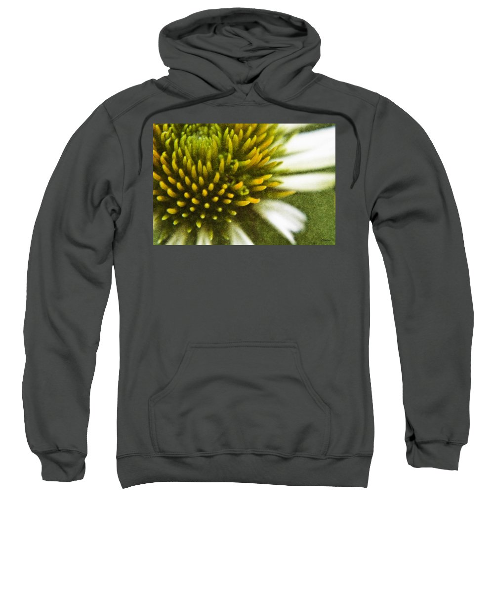 Coneflower Sweatshirt featuring the digital art White Coneflower by Teresa Mucha