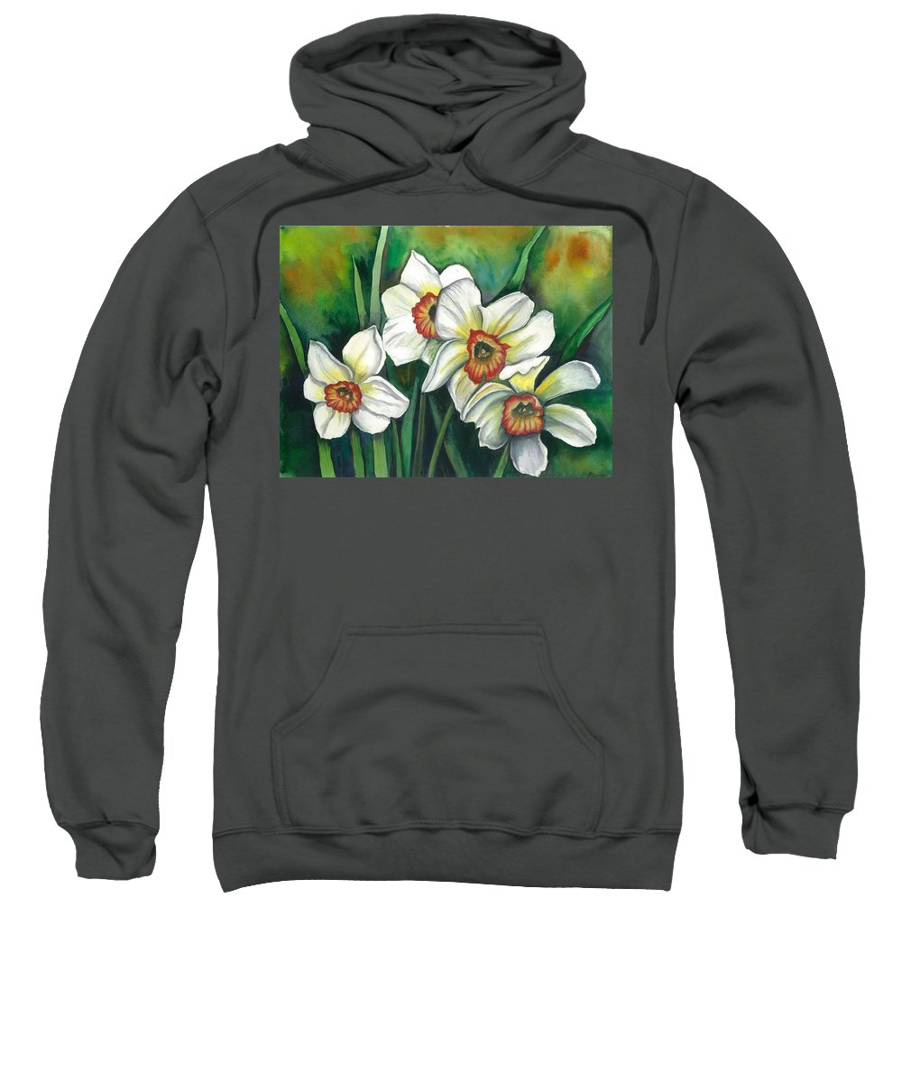 Flowers Sweatshirt featuring the painting White Daffodils by Linda Nielsen