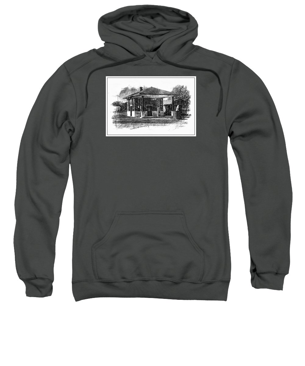 Osage City Sweatshirt featuring the photograph White Eagle Gas Station by Alan Hutchins
