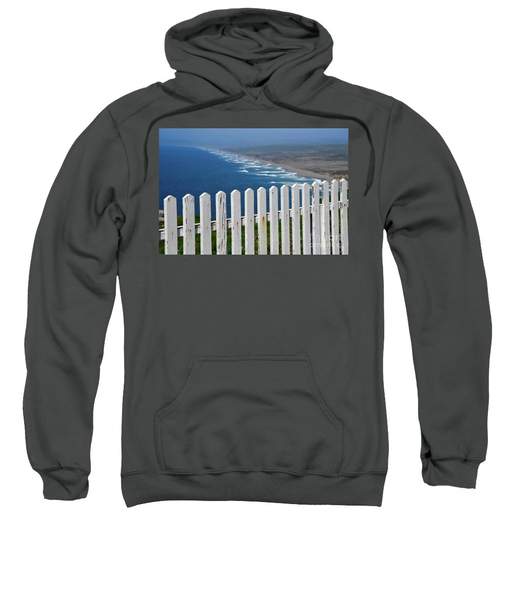 Point Reyes Sweatshirt featuring the photograph White Fence And Waves by Bruce Chevillat