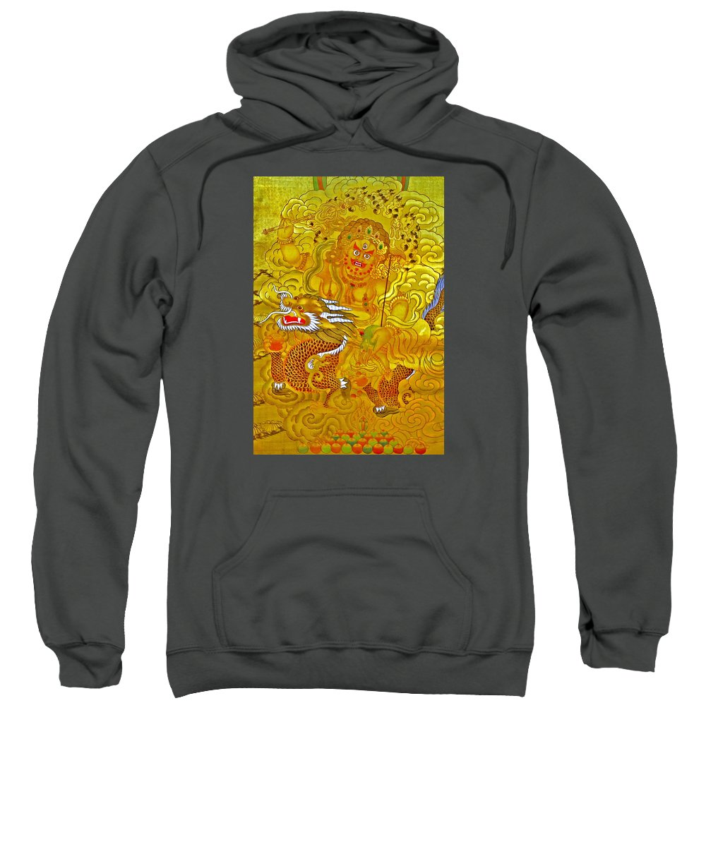 White God Of Wealth Sweatshirt featuring the photograph White Jambhala 5 by Jeelan Clark