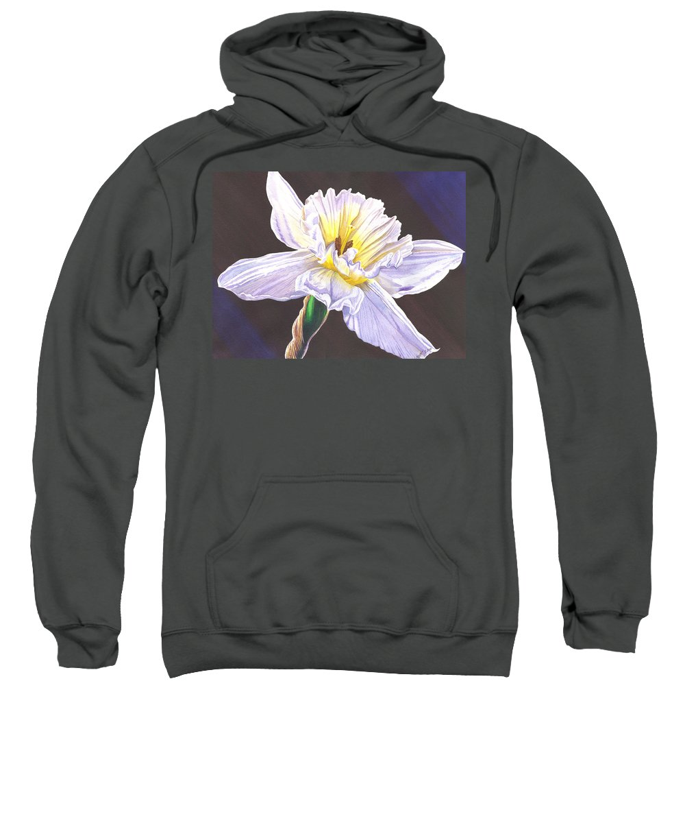 Daffodil Sweatshirt featuring the painting White Jonquil by Catherine G McElroy