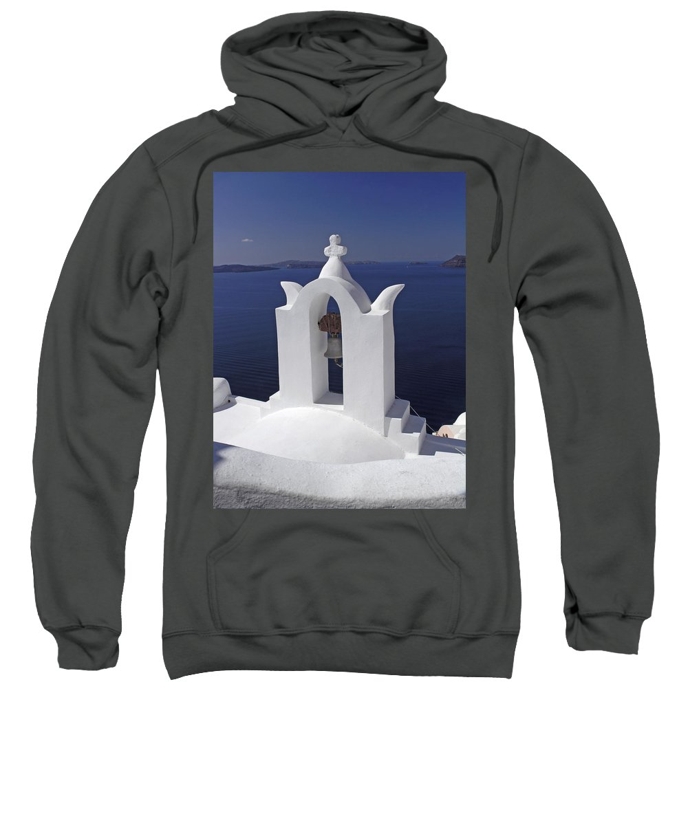 Greek Orthodox Church Sweatshirt featuring the photograph White On Blue by Sally Weigand