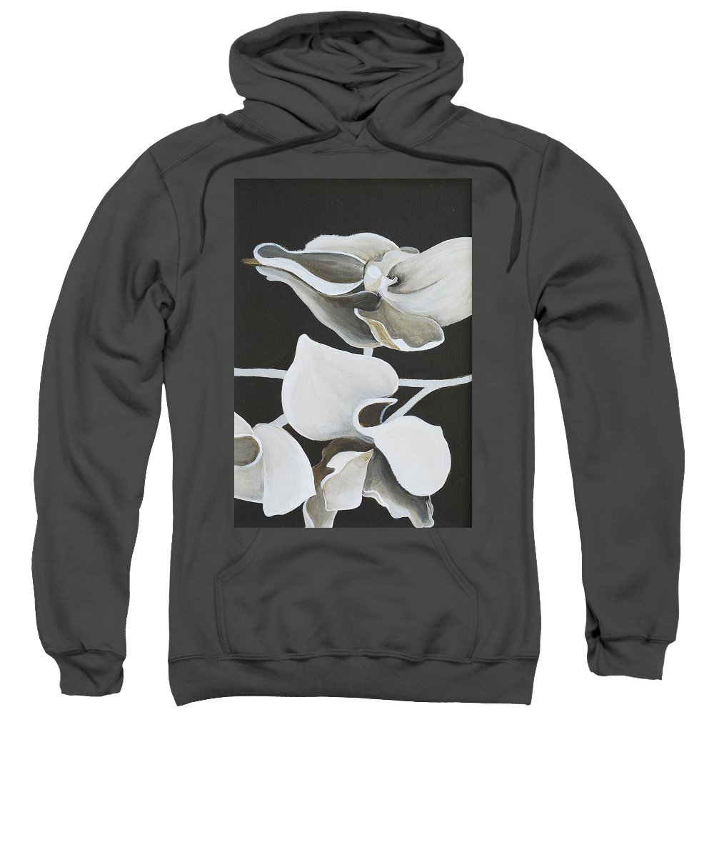 Orchid Sweatshirt featuring the painting White Orchid Middle Section by Catt Kyriacou