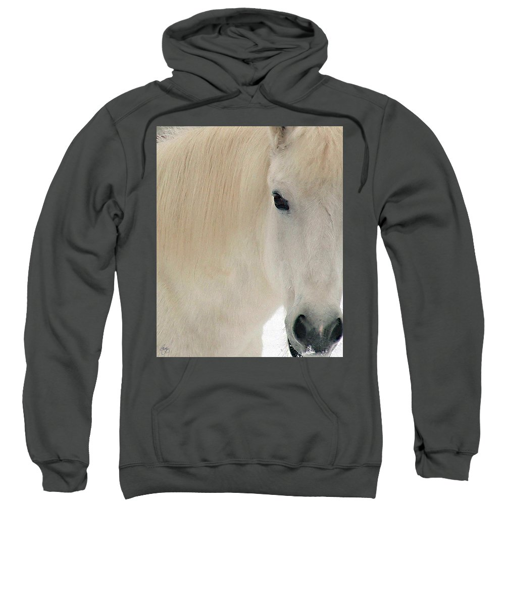 White Pony Sweatshirt featuring the photograph White Pony In Profile by Wayne King