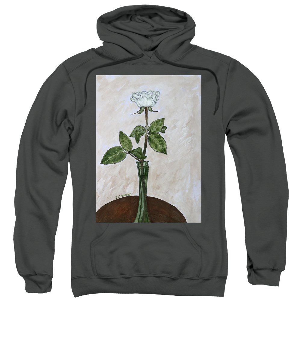 Floral Sweatshirt featuring the painting White Rose by Patrick J Murphy