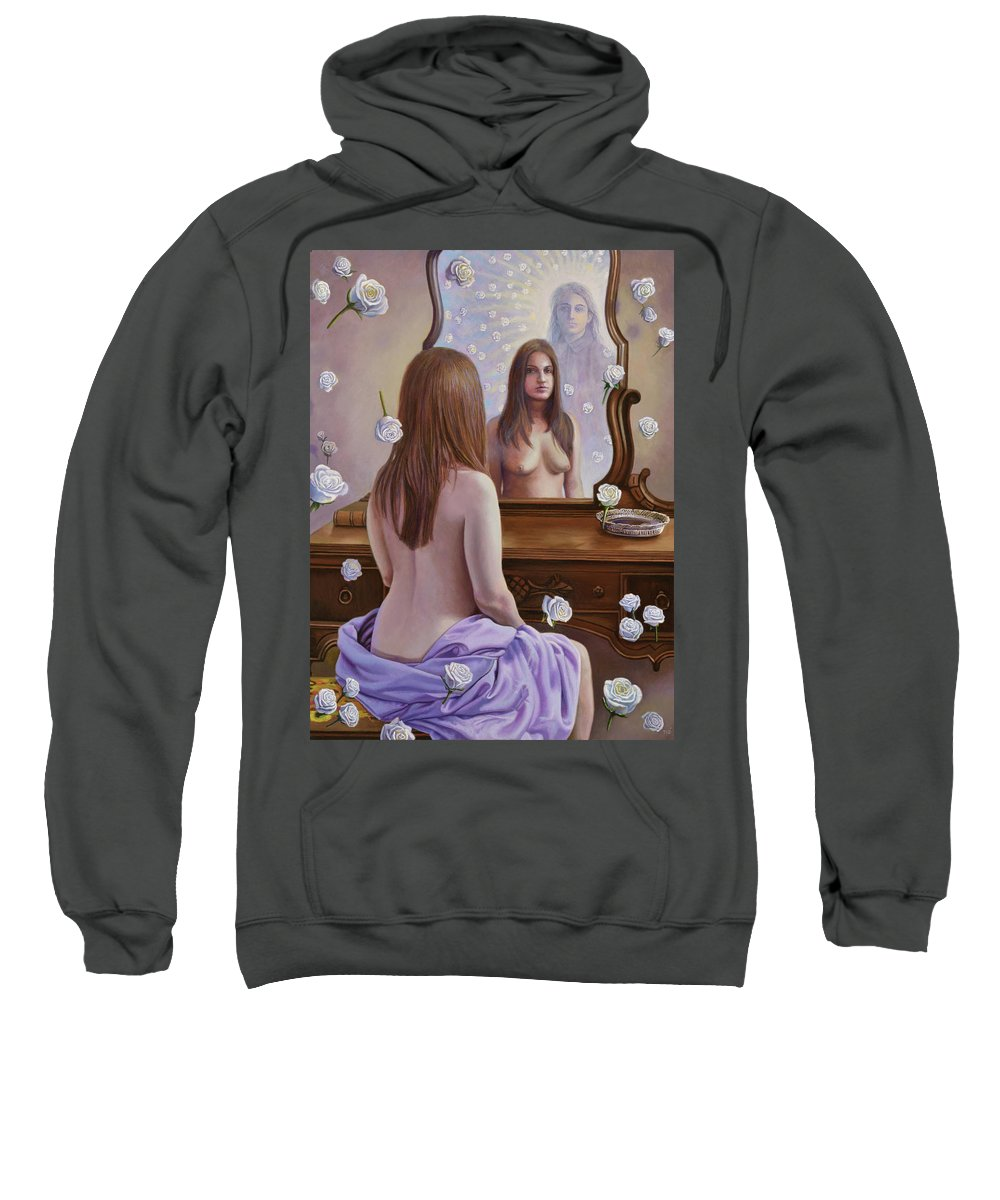 Roses Sweatshirt featuring the painting White Roses by Miguel Tio