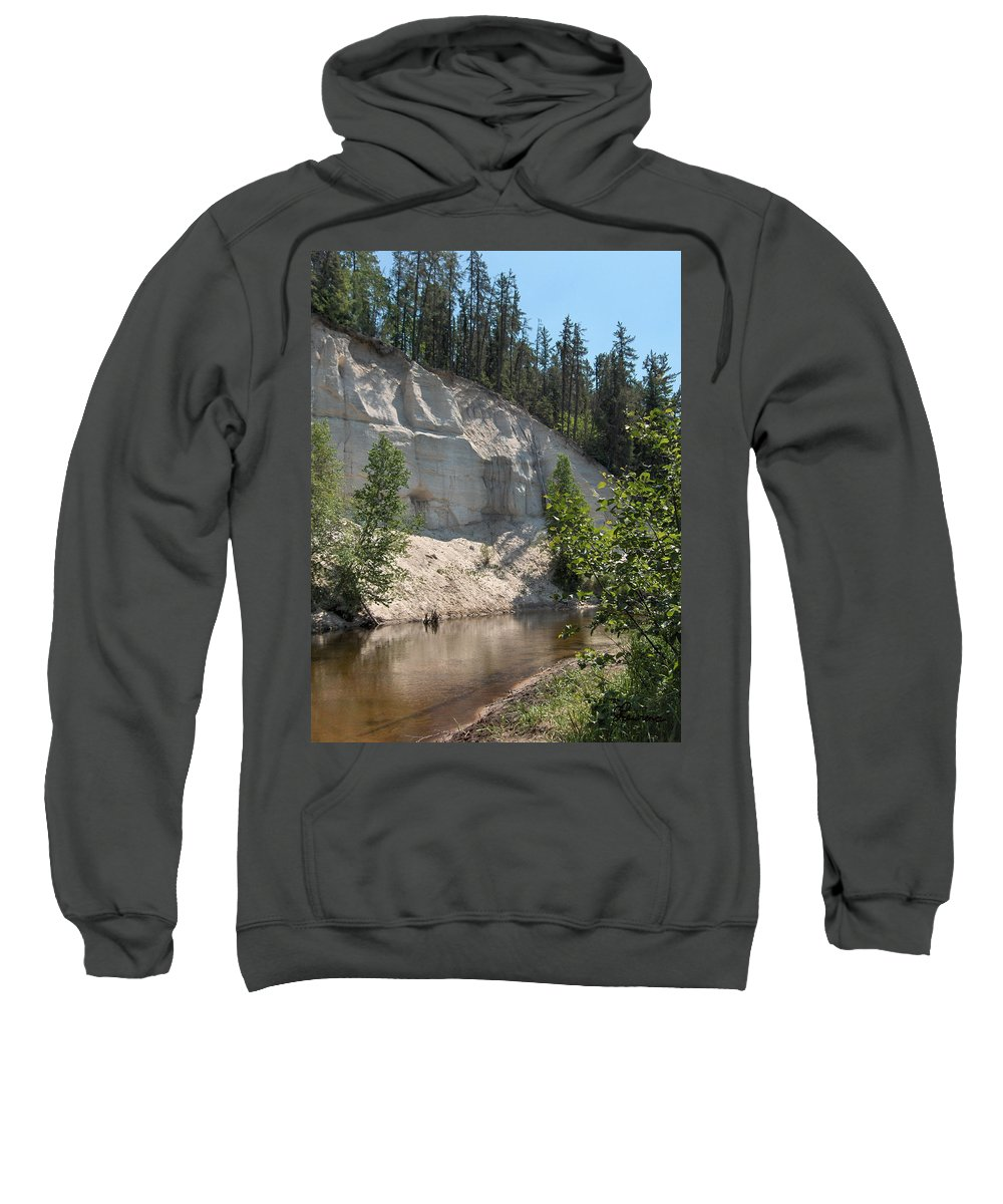 River Sand Cliffs Clear Water Evergreens Trees Natural Beauty Shore Piprell Lake Saskatchewan Sweatshirt featuring the photograph White Sands Cliff by Andrea Lawrence