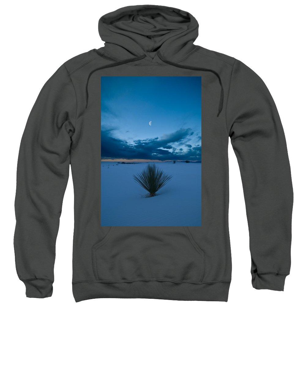 Blue Sweatshirt featuring the photograph White Sands Moonrise by Steve Gadomski