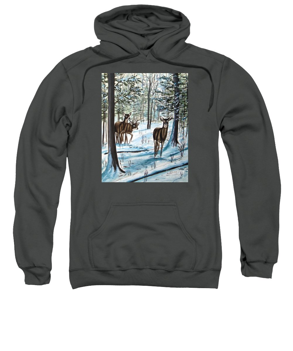 Deer Sweatshirt featuring the painting White Tail Deer In Winter by Patricia L Davidson