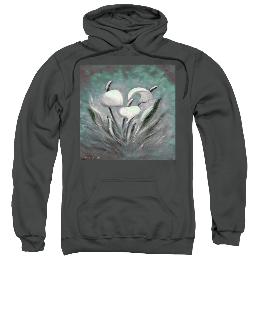 Tropical Sweatshirt featuring the painting White Tropical Flowers by Gina De Gorna