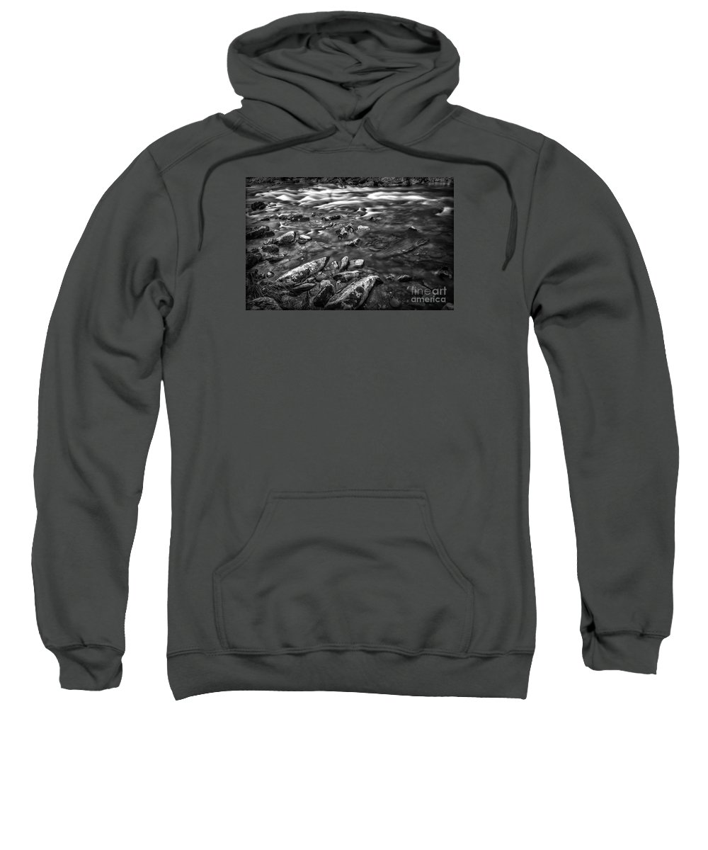 White Sweatshirt featuring the photograph White Water Bw by Walt Foegelle