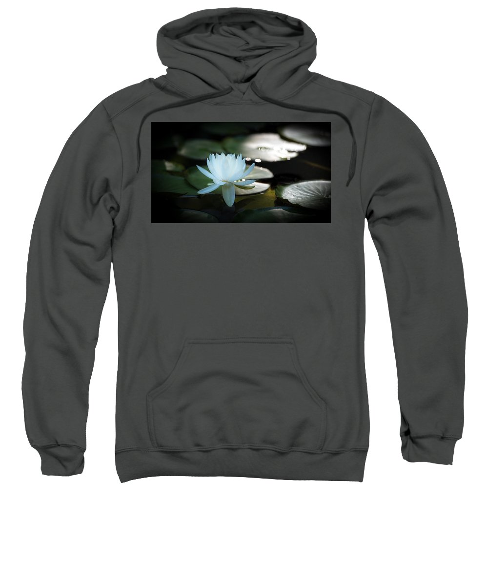 Water Lily Sweatshirt featuring the photograph White Water Lily by Jeff Partridge
