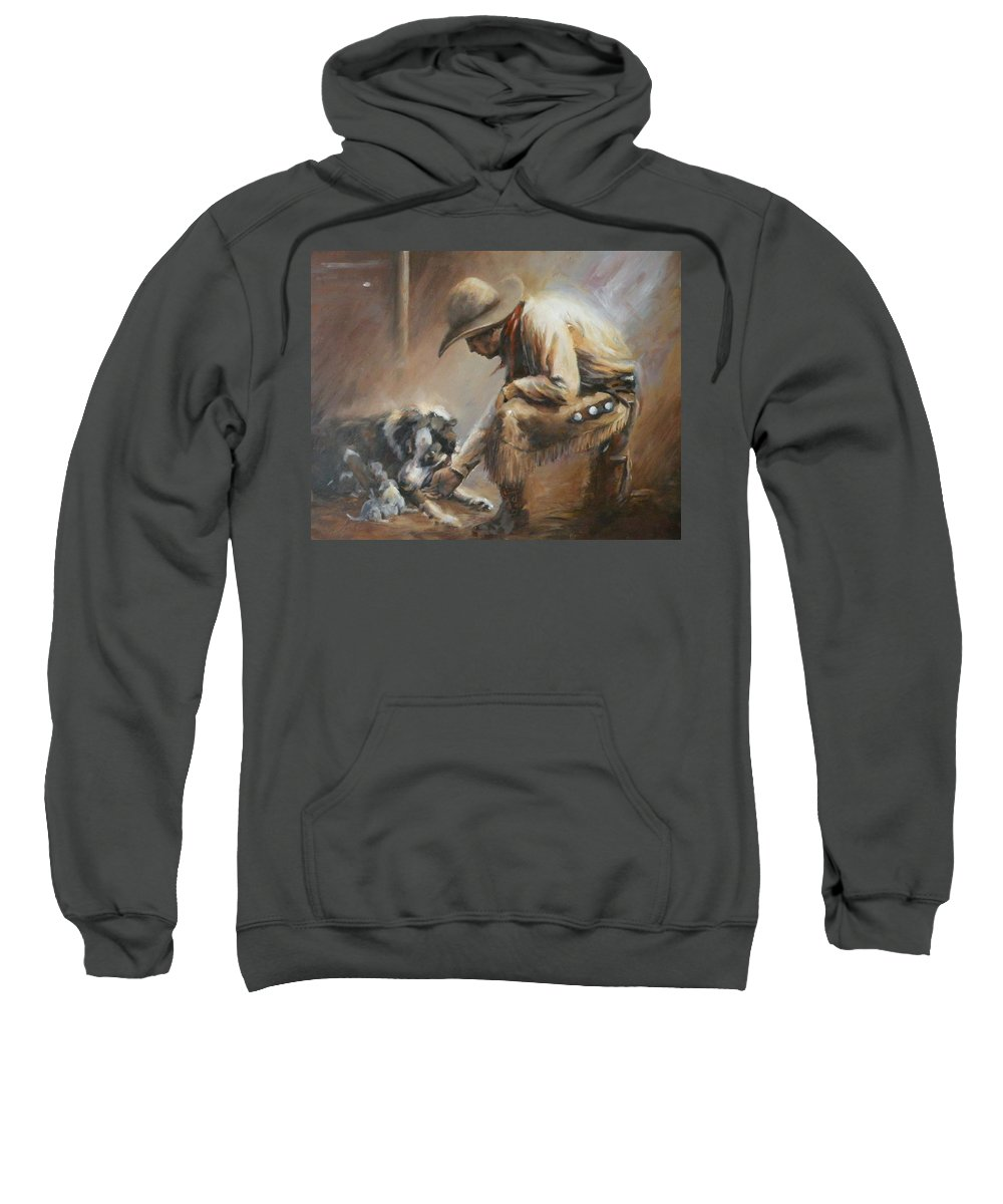 Cowboys Sweatshirt featuring the painting Who's Your Daddy by Mia DeLode