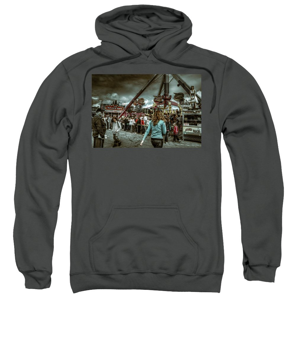 People Sweatshirt featuring the photograph Who's Zooming Who by Wayne Sherriff