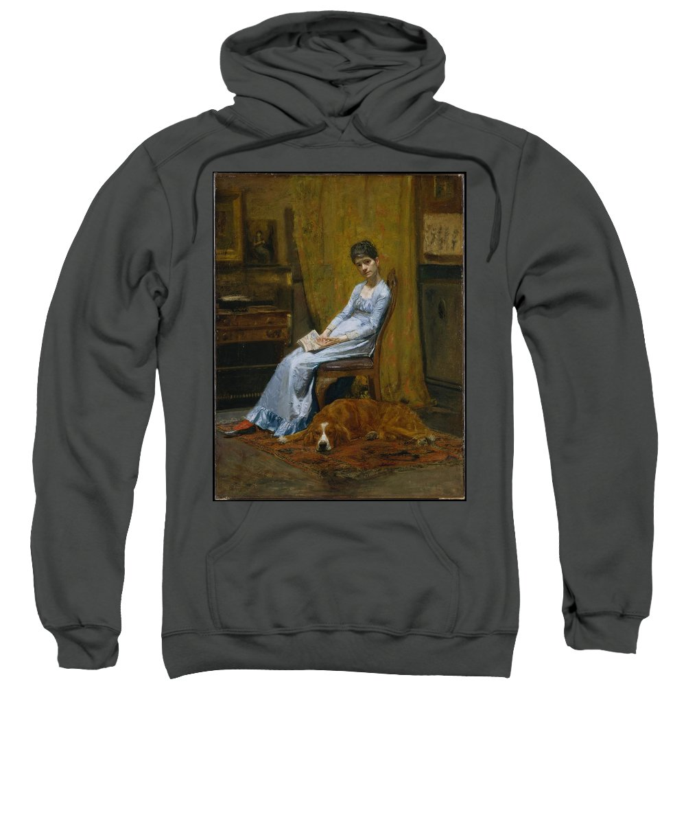 The Artist's Wife And His Setter Dog Sweatshirt featuring the painting Wife And His Setter Dog by MotionAge Designs