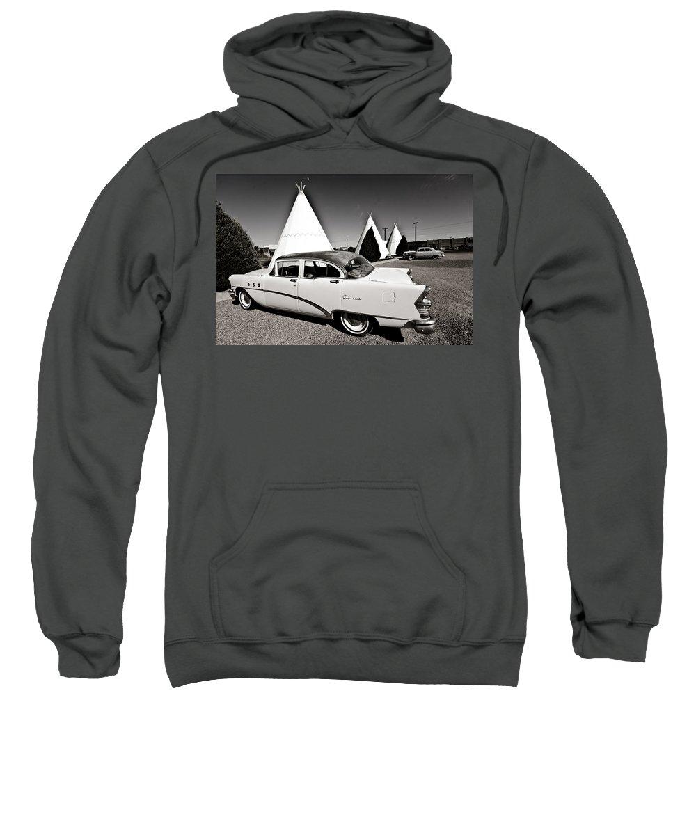 66 Sweatshirt featuring the photograph Wigwam Motel Classic Car #2 by Robert J Caputo
