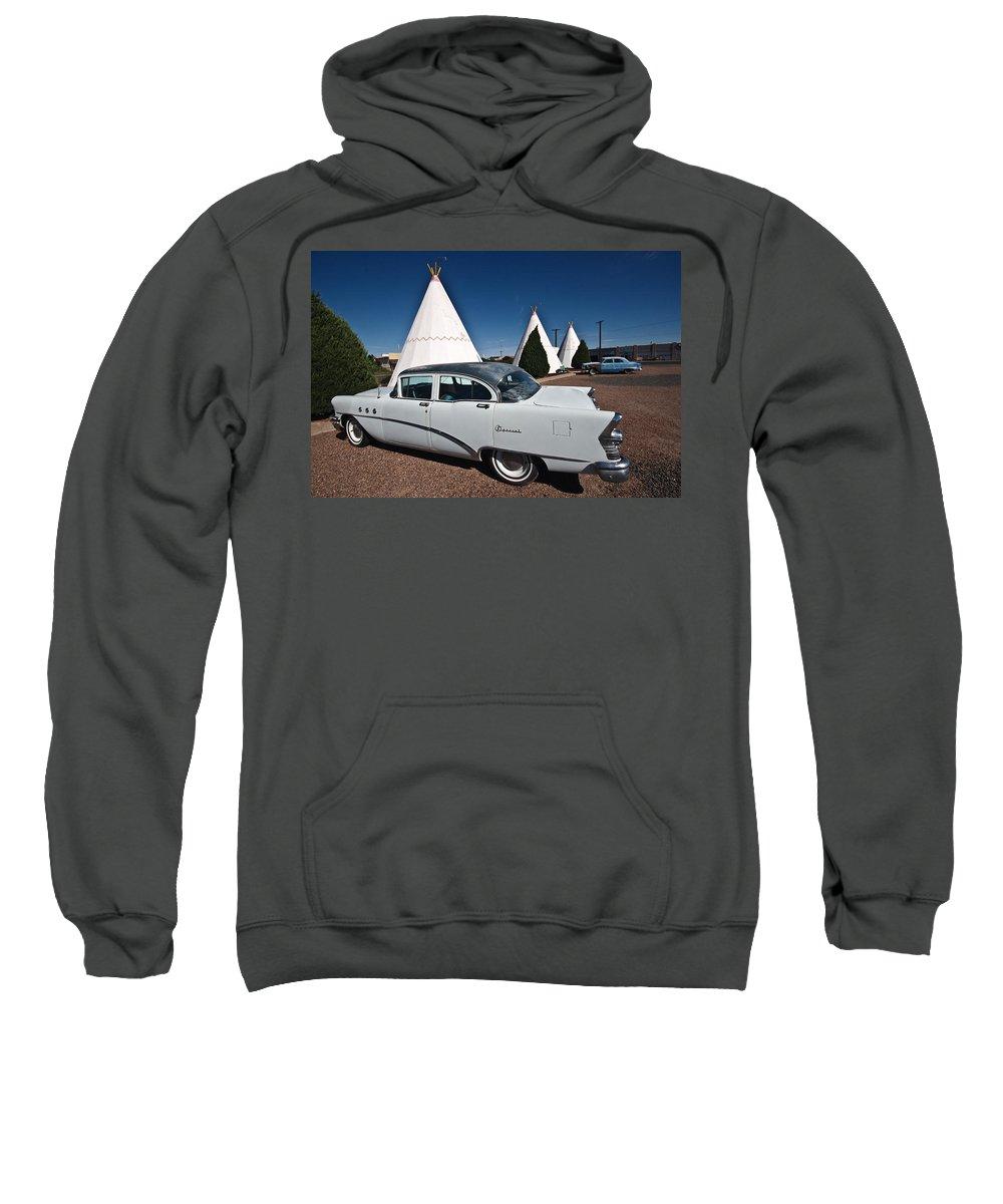 66 Sweatshirt featuring the photograph Wigwam Motel Classic Car by Robert J Caputo