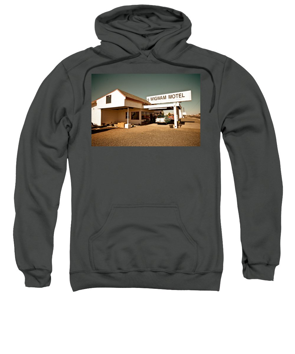 66 Sweatshirt featuring the photograph Wigwam Motel by Robert J Caputo