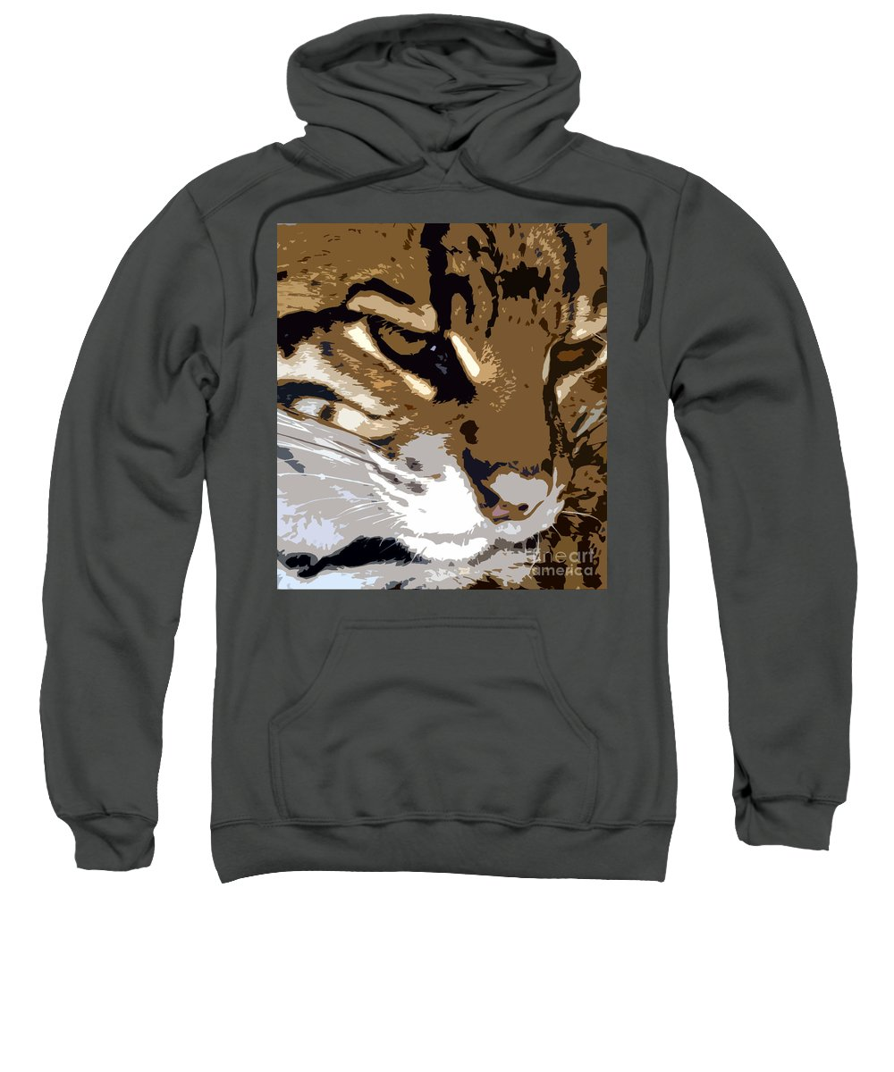 Wild Sweatshirt featuring the painting Wild Cat by David Lee Thompson
