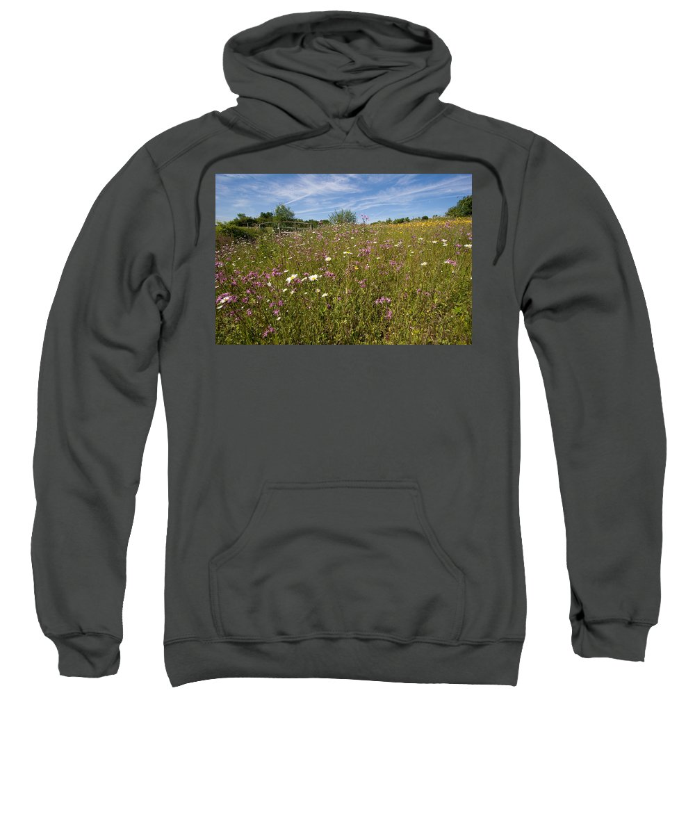 Wild Flower Sweatshirt featuring the photograph Wild Flower Meadow by Bob Kemp