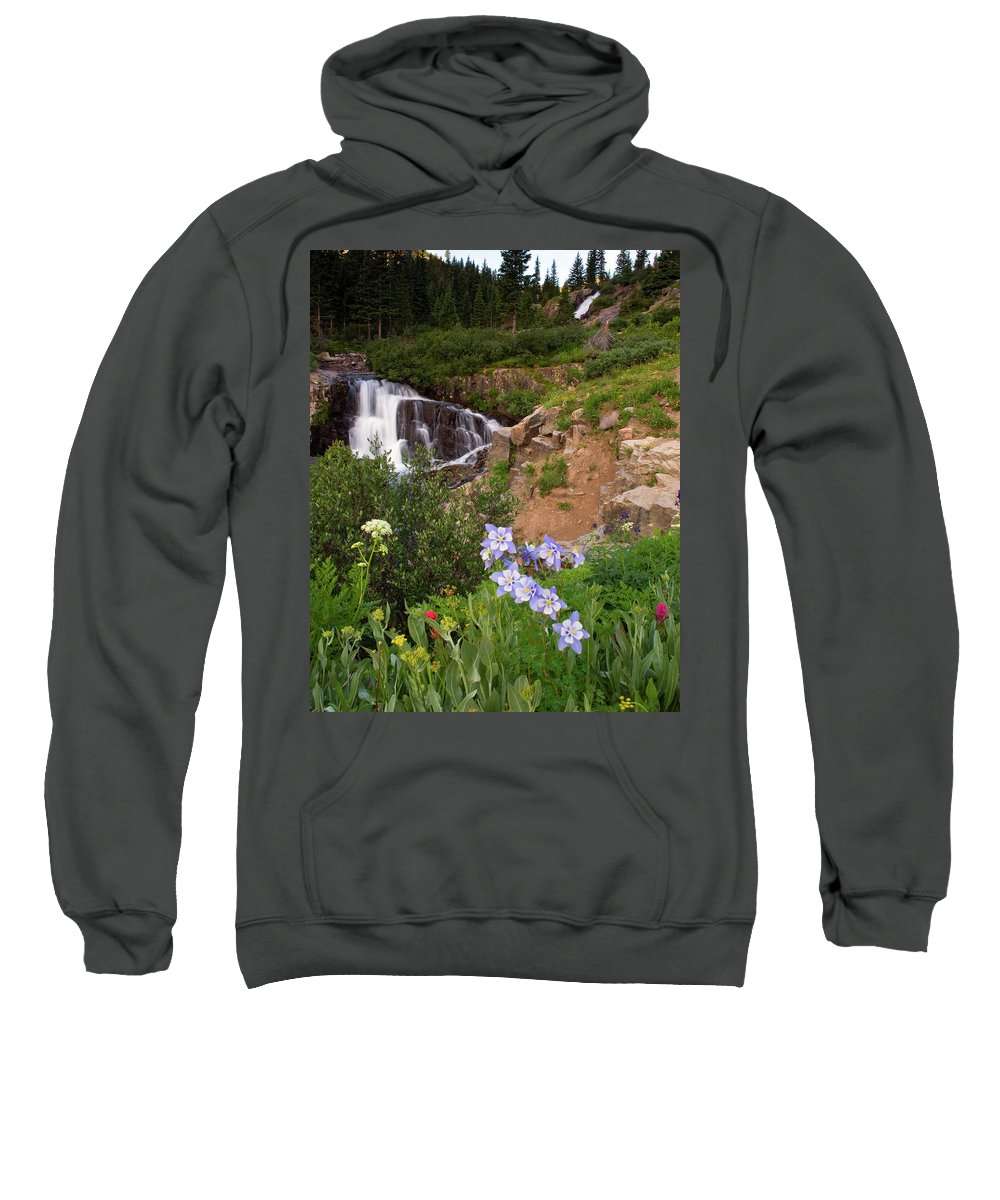 Colorado Sweatshirt featuring the photograph Wild Flowers And Waterfalls by Steve Stuller